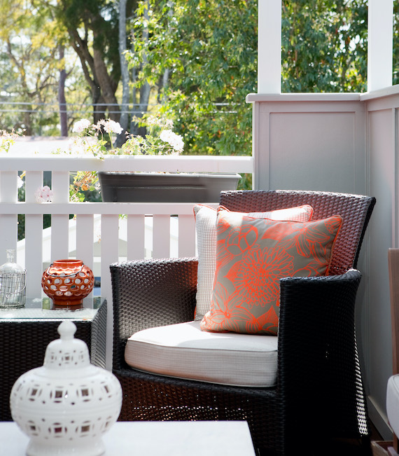 accent chair on the porch
