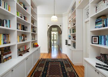 hallway and bookshelves