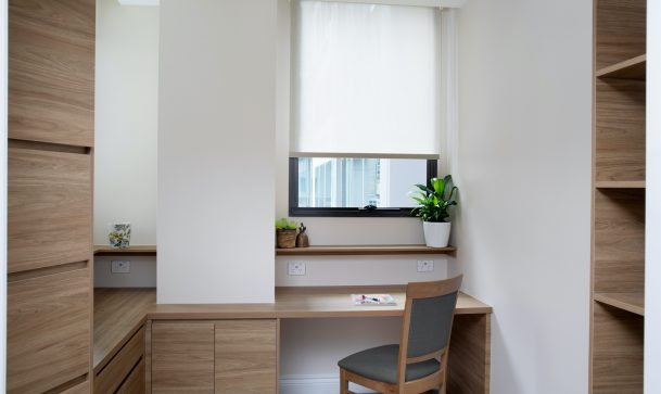 desk, chair and cabinet